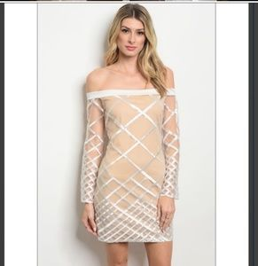 Dresses & Skirts - White nude and sequin illusion off the shoulder
